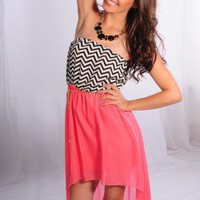 CORAL BLACK WHITE CHEVRON PRINT STRAPLESS CHIFFON HI-LOW DRESS