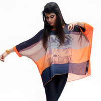 Women orange black and grey oversize top, bat sleeves top , romantic top , a gift for mom