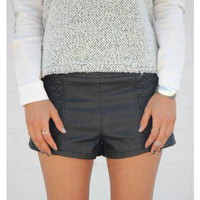 Side Quilted Leather Shorts