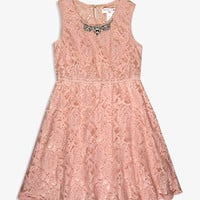 Rhinestoned Lace Dress