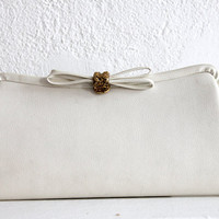 60s Cream FRAME CLUTCH Bag with Bow Clasp