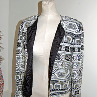 SALE 1980's Accent Furs by Curry / Jennifer Brand / Silk Sequin & Bead Blazer / stunning detail / Size M - L
