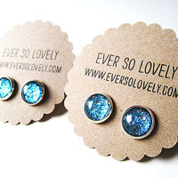 BRIDESMAIDS SET of 2 silver and teal blue sparkly metallic silver plated post earrings nickel free - summer nights and starry skies