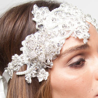 Lace Bridal Floral Ivory Crystal Pearl Headband by ShopKP on Etsy