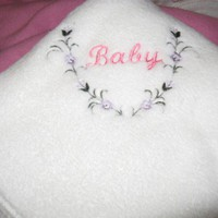 Embroidered Hot Pink Baby and Flowers White Plush Fleece Baby Blanket | KallieJosCottonPatch - Children's on ArtFire