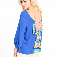 Neon Bow Scoopback Blouse