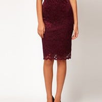 ASOS Pencil Skirt in Lace with Scallop Hem at asos.com