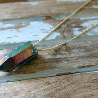 Rainbow Titanium Quartz Point Statement Necklace
