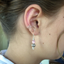 Pair of Silver Plated Ear Cuffs with antique Silver tone and Pink Cats Eye Glass Beaded drops, non pierced