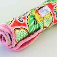 Baby Changing Pad Roll Up with Amy Butler Lark Glamour Floral Couture Berry and Pink Minky Dimple Dot - Made to Order