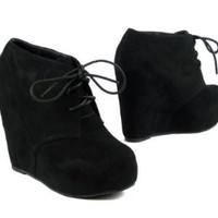 Amazon.com: Lace up Platform Wedge Bootie: Shoes