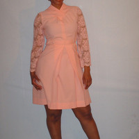 1960s Vintage Mod Peach Pink Dress