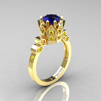 Classic Armenian 14K Yellow Gold 1.0 Blue Yellow Sapphire Bridal Solitaire Ring R405-14KYGYBS
