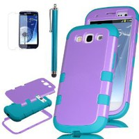 Amazon.com: Pandamimi ULAK 3 in 1 Purple Hybrid High Impact Case (Samsung Galaxy S3 At&T, Verizon, T-mobile And Sprint)+ Blue Silicon back cover for Samsung Galaxy S 3 III S3 i9300 + Screen protector + Stylus: Cell Phones & Accessories