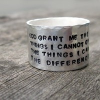 Serenity Prayer Wide Band Ring exclusively by by donnaOdesigns