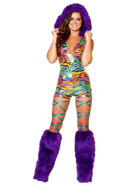 Metallic Rainbow Zebra Romper with Fur from Rave Ready | Womens