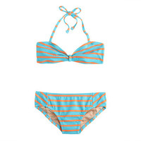Girls' string halter bikini set in stripe