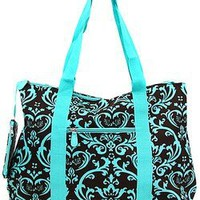 Amazon.com: Large Roomy Canvas Tote Purse Beach Travel Bag w/ Attached Coin Purse Turquoise Blue Brown Damask (Turquoise Blue Brown Damask): Clothing