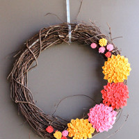 "Handmade Sweet Dahlia Felt Wreath- 18"" Orange/Pink/Yellow"