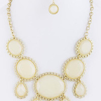 Framed Jewel Statement Necklace! - Ivory | Bellum&Rogue