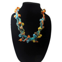 Crochet Necklace Colorful Knotted Twisted Chained Fiber Art