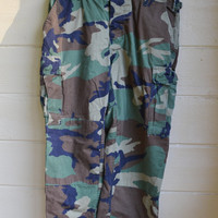 ON SALE Vintage Military Camo Pants Men's Army Camo Pants Woodland Camo BDU Pant
