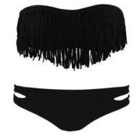 Women&#x27;s Sexy Tassel Padded Bandeau Fringe Bikini