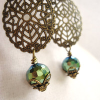 Filigree Oval & Green Crystals Chandelier Earrings