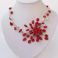 glamorous and elegant white pearl and red coral by jewelry1016