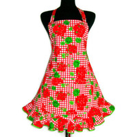 Flower Apron , Red Geraniums , Adjustable with Retro Ruffle and Pocket