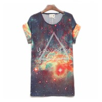 Cool You And Me Galaxy Loose Batwing T-shirt