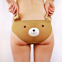 Teddy bear face panties with ears lingerie underwear