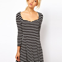 ASOS Skater Dress With Sweetheart Neck In Stripe Print