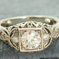Estate 14K 0.85CT TW Diamond Filigree Ring
