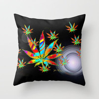 Cannibis Throw Pillow by JT Digital Art 