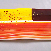 Waves of Orange Striped Glass Dish