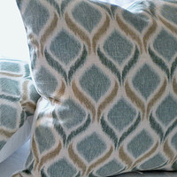 Decorative Teal Ikat Ogee pillow cover 16 x 16