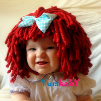 Raggedy Ann Wig Halloween Costume Toddler Hat Raggedy Ann Costume Toddler Costume Red Yarn Wig 2T Costume Baby Hat Baby Costume Baby Wig