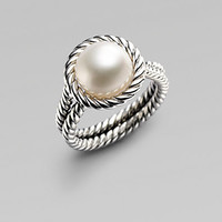 David Yurman - White Freshwater Pearl &amp; Sterling Silver Cable Ring