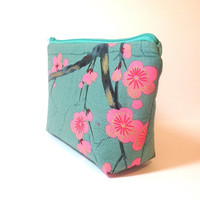 Zipper Pouch  Wallet  Cosmetic Pouch  Teal Cherry Blossoms