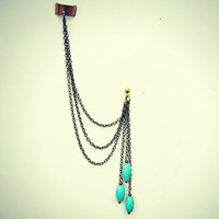 ear cuff with turquoise earring, ear cuff with chains, chains ear cuff, turquoise earrings
