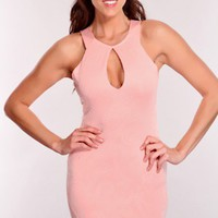 Pink Keyhole Center Sexy Party Dress