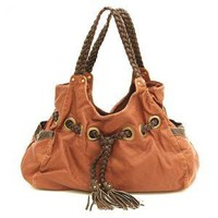 caramel braided avenue tote