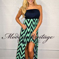 My Lips Are Sealed High Low Dress NAVY - Modern Vintage Boutique