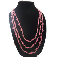 Crochet Necklace Three Strands  Bobble Stitch Pink Iridiscent Cooper Beads  Fiber Necklace