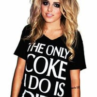 Sober Is Sexy The Only Coke I Do Is Diet Oversized Tee in Black