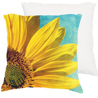 home decor, &quot;Pure sunshine&quot; yellow sunflower, aqua 18x18 pillow, cottage decor