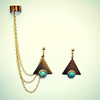 trangle and turquoise stone ear cuff earrings