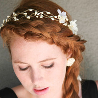wedding hair Rustic bridal wreath with flowers by BeSomethingNew
