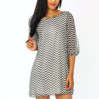 bow-accent-chevron-dress BLACKIVORY CORALGREY - GoJane.com